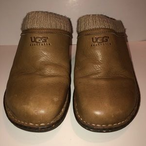 Ugg Chestnut leather mule wedge with knit trim